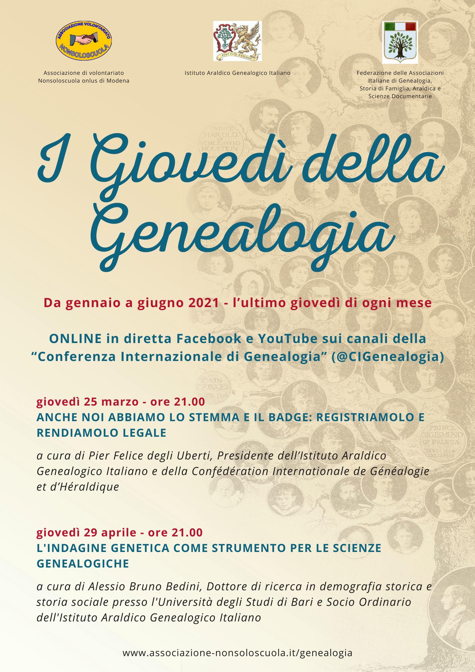giovedì della genealogia mese della genealogia modena